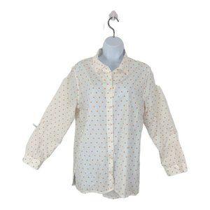 Chicos No-Iron White Orange Polka Dot Shirt